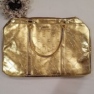 NWOT BCBGMaxAzria Gold Overnight Bag